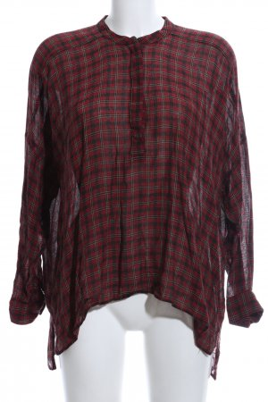 Zara Woman Oversized Bluse rot-schwarz Karomuster Casual-Look