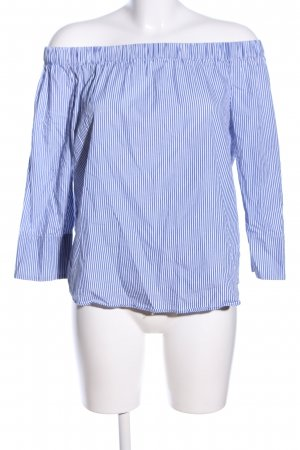 Zara Woman Oversized Bluse blau-weiß Allover-Druck Casual-Look