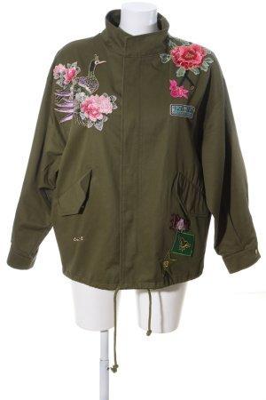 Zara Woman Oversized Jacke khaki-pink Blumenmuster Casual-Look