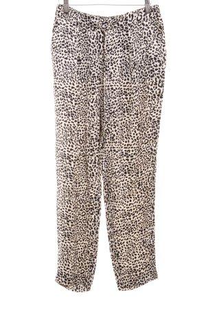 Zara Woman Pallazzohose schwarz-hellbeige Leomuster Animal-Look