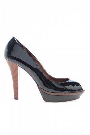 Zara Woman Peeptoe Pumps schwarz-braun Streifenmuster Business-Look