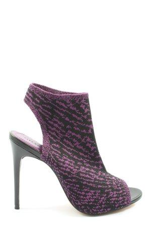 Zara Woman Peeptoe Pumps lila-schwarz abstraktes Muster Elegant
