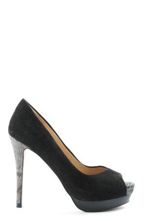 Zara Woman Peeptoe Pumps schwarz Animalmuster Elegant