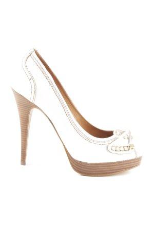 Zara Woman Peeptoe Pumps weiß-bronzefarben extravaganter Stil