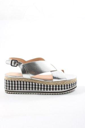 Zara Woman Sandalias con plataforma estampado a cuadros look casual