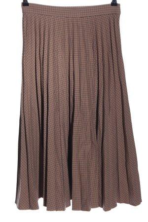 Zara Woman Falda plisada marrón estampado repetido sobre toda la superficie