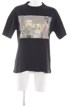 Zara Woman Print-Shirt schwarz Schriftzug gedruckt Casual-Look