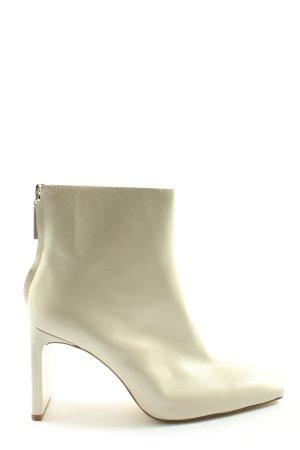 Zara Woman Botki z zamkiem  w kolorze białej wełny W stylu casual