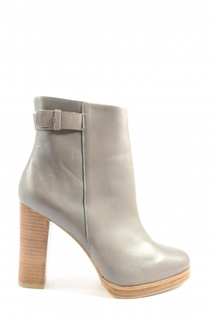 Zara Woman Reißverschluss-Stiefeletten hellgrau Business-Look