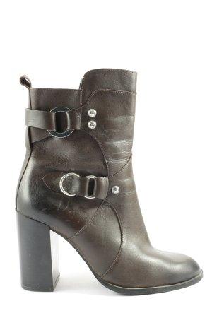 Zara Woman Reißverschluss-Stiefeletten dunkelbraun Casual-Look