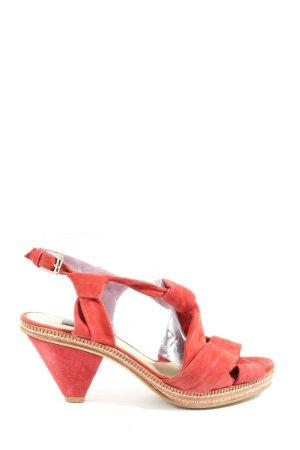 Zara Woman Sandały z rzemykami czerwony Elegancki