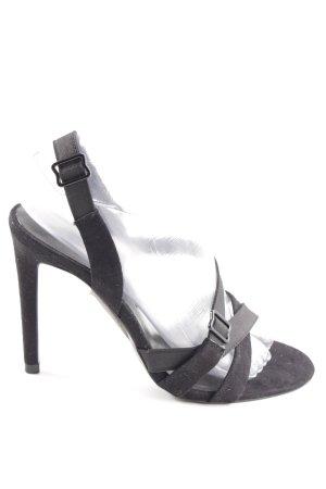 Zara Woman Riemchen-Sandaletten schwarz Casual-Look