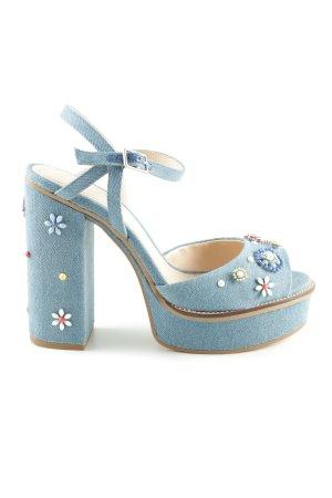 Zara Woman Riemchen-Sandaletten blau Casual-Look
