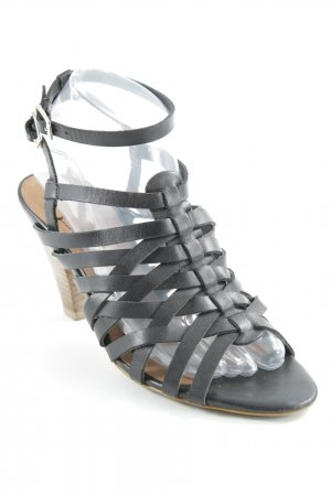 Zara Woman Riemchen-Sandaletten schwarz-hellbraun Casual-Look