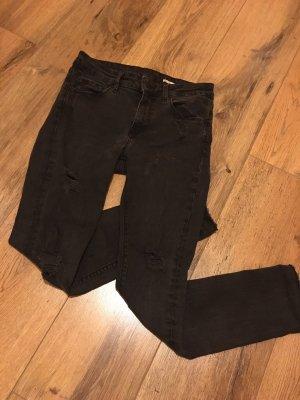 Zara Woman Jeans cigarette gris anthracite-gris foncé