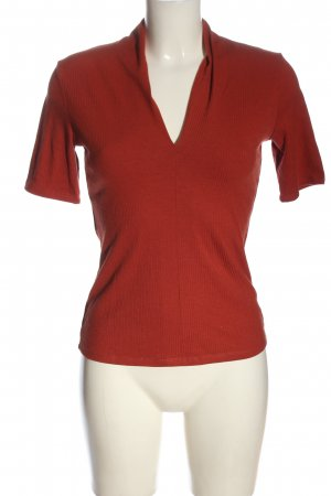 Zara Woman Ribbed Shirt red casual look