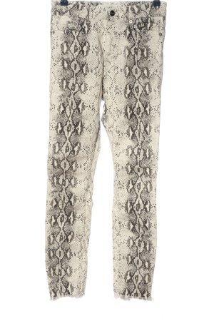 Zara Woman Röhrenhose weiß-schwarz Allover-Druck Casual-Look