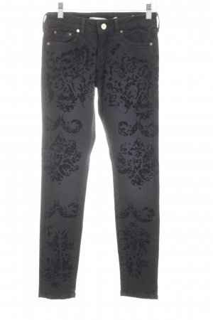Zara Woman Röhrenjeans hellgrau-schwarz abstraktes Muster Casual-Look