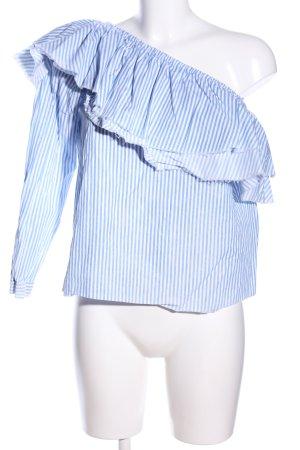 Zara Woman Blusa con volantes blanco-azul estampado a rayas look casual