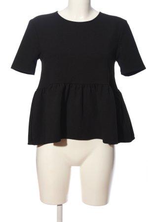Zara Woman Bluzka z falbankami czarny W stylu casual