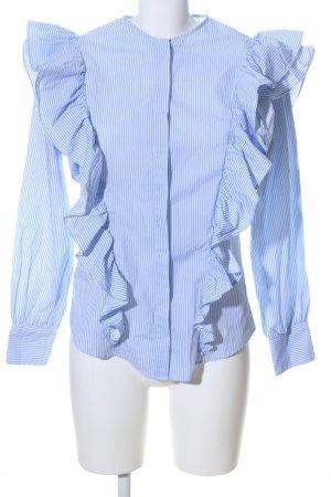 Zara Woman Rüschen-Bluse blau-weiß Allover-Druck Casual-Look