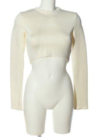 Zara Woman Rundhalspullover weiß Casual-Look
