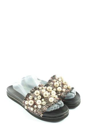 Zara Woman Sabots schwarz-wollweiß Casual-Look