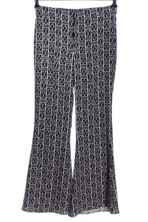 Zara Woman Pantalone a zampa d'elefante nero-bianco stampa integrale