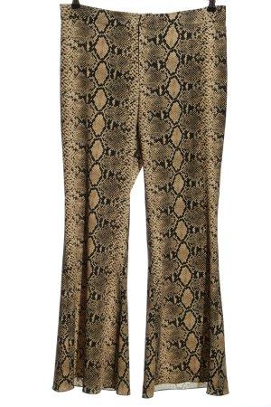 Zara Woman Schlaghose creme-schwarz Animalmuster Casual-Look