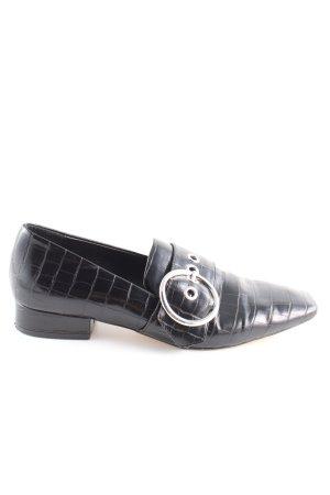 Zara Woman Schlüpfschuhe schwarz Animalmuster Casual-Look