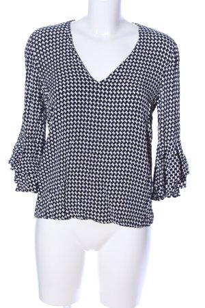Zara Woman Schlupf-Bluse weiß-schwarz grafisches Muster Business-Look