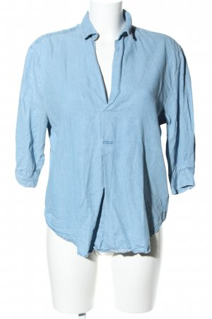 Zara Woman Schlupf-Bluse blau Business-Look
