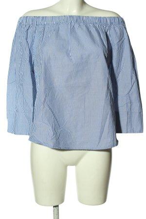 Zara Woman Schlupf-Bluse blau-weiß Streifenmuster Casual-Look
