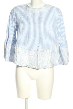 Zara Woman Schlupf-Bluse weiß-blau Streifenmuster Casual-Look
