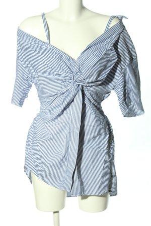 Zara Woman Schlupf-Bluse blau-weiß Streifenmuster Elegant