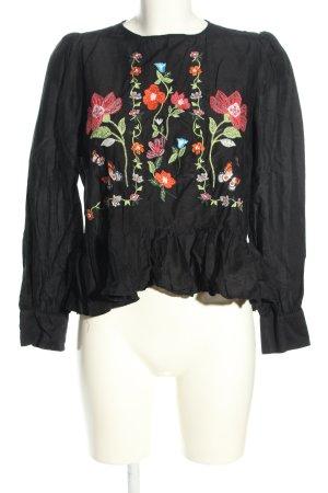 Zara Woman Schlupf-Bluse Blumenmuster Casual-Look