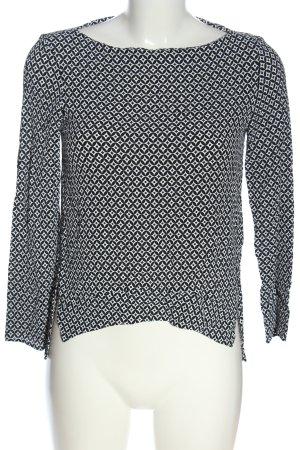 Zara Woman Schlupf-Bluse weiß-schwarz Allover-Druck Casual-Look