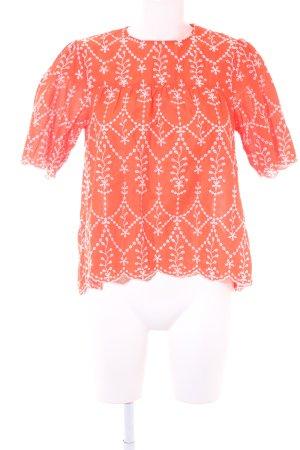 Zara Woman Schlupf-Bluse lachs-weiß Stickereiverzierung
