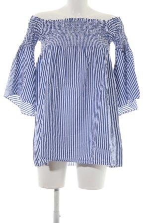 Zara Woman Schlupf-Bluse weiß-stahlblau Streifenmuster Beach-Look