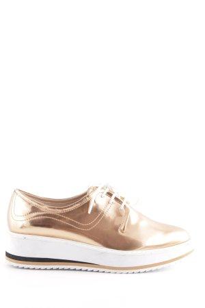 Zara Woman Sznurowane buty złoto-biały Tkanina z mieszanych włókien