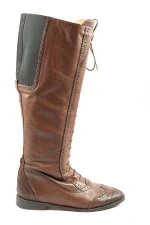 Zara Woman Kozaki sznurowane brązowy-czarny W stylu casual