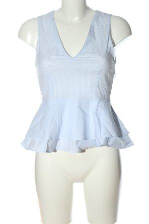 Zara Woman Peplum top wit-blauw gestreept patroon casual uitstraling