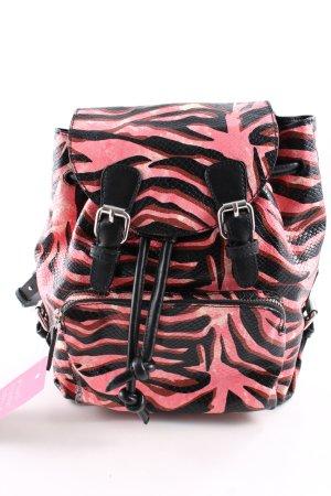Zara Woman Zaino per la scuola nero-rosa motivo animale stile casual