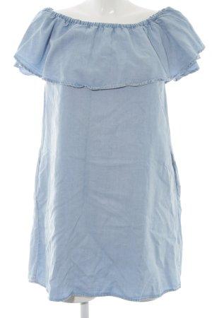 Zara Woman schulterfreies Kleid himmelblau Casual-Look