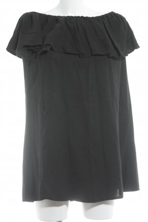 Zara Woman schulterfreies Kleid schwarz Romantik-Look