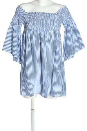 Zara Woman schulterfreies Kleid weiß-blau Allover-Druck Elegant