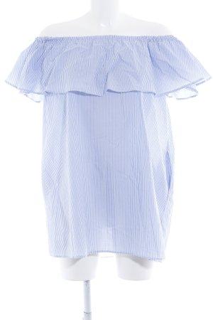 Zara Woman schulterfreies Kleid weiß-himmelblau Streifenmuster Casual-Look