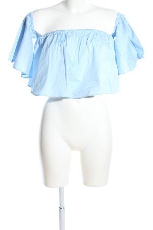 Zara Woman schulterfreies Top blau Casual-Look