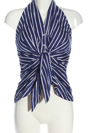 Zara Woman schulterfreies Top blau-weiß Streifenmuster Casual-Look