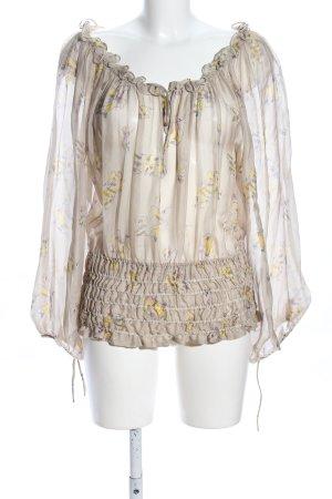 Zara Woman Seidenbluse wollweiß-blassgelb Blumenmuster Casual-Look